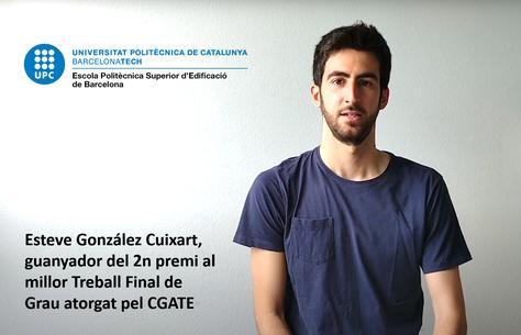 Esteve Gonzàlez Cuxart 2n premi al millor Treball de Fi de Grau del CGATE