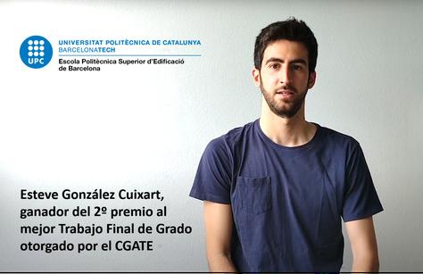 Esteve Gonzàlez Cuxart 2º premio al mejor Trabajo de Fin de Grado del CGATE